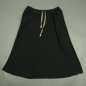 Fendi Linen Silk Black Maxi Skirt Size 44